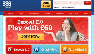 888 Bingo website homepage