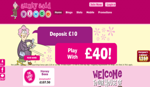 Aunty Acid Bingo website homepage