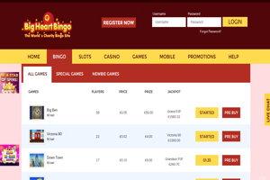 big heart bingo website screenshot