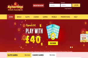 Big Heart Bingo website homepage