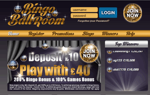Bingo Ballroom website homepage