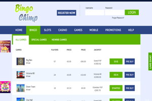 bingo chimp website screenshot