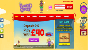 Bingo Crazy website homepage