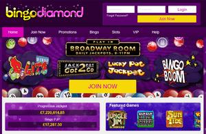 Bingo Diamond website homepage