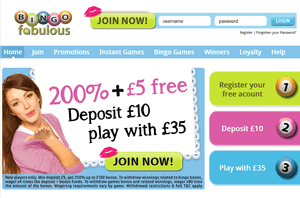 Bingo Fabulous website homepage