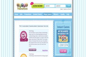 bingo fabulous website screenshot