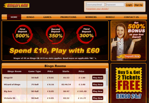 Bingo Flame website homepage