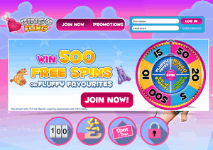 Bingo Fling website homepage