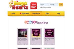 bingo hearts website screenshot