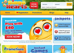 Bingo Hearts website homepage