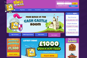 Bingo On The Box website homepage
