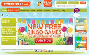 Bingo Street website homepage