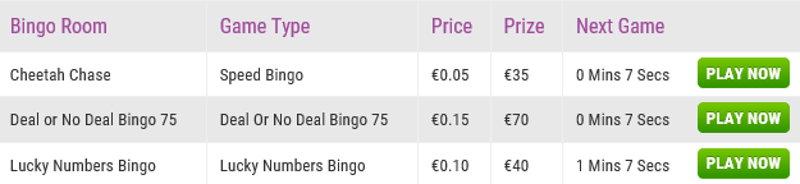 boyle bingo schedule screenshot