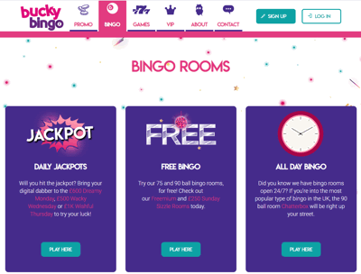 Bucky Bingo website homepage