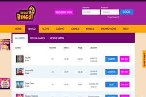 budget bingo website screenshot