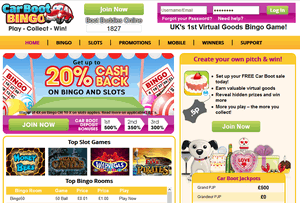 Car Boot Bingo website homepage
