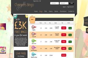 champers bingo website screenshot