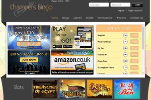 Champers Bingo website homepage