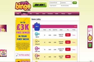 comfy bingo homepage screenshot