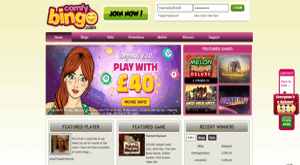 Comfy Bingo website homepage