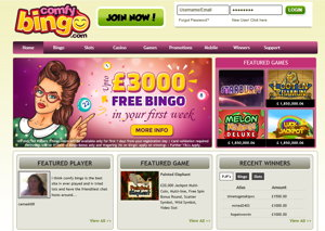 comfy bingo homepage screenshot