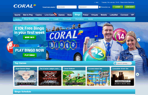 Coral Bingo website homepage