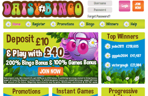 Daisy Bingo website homepage