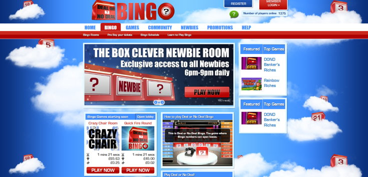 deal or no deal homepage screenshot
