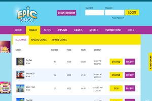 epic bingo website screenshot