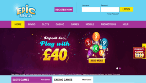 Epic Bingo website homepage