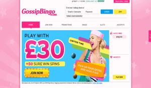 Gossip Bingo website homepage