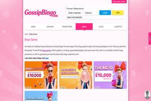 gossip bingo website screenshot