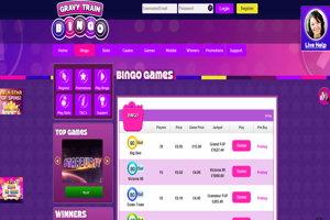 gravu train bingo website screenshot