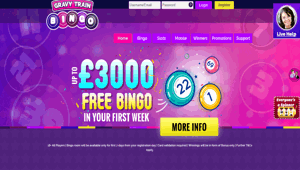 Gravy Train Bingo website homepage