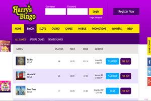 harrys bingo website screenshot