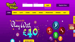 Harrys Bingo website homepage