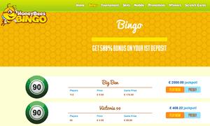 Honey Bees Bingo website homepage