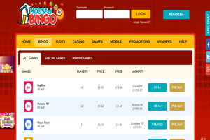 house of bingo website screenshot