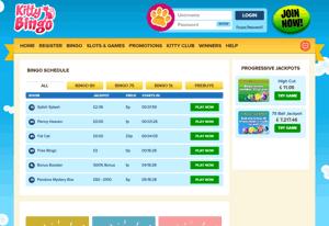 Kitty Bingo homepage screenshot