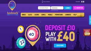 Landmark Bingo website homepage