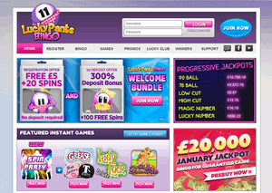 Lucky Pants Bingo website homepage