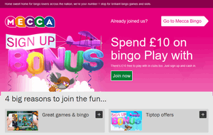 Mecca Bingo website homepage