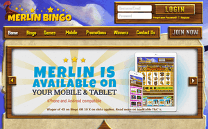 Merlin Bingo website homepage