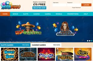 Mira Bingo website homepage