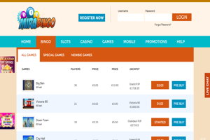 mira bingo website screenshot