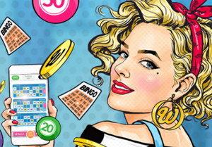 mobile online bingo app and girl screenshot
