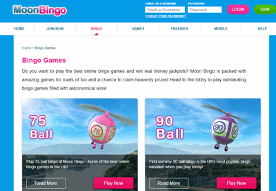 Moon Bingo website homepage
