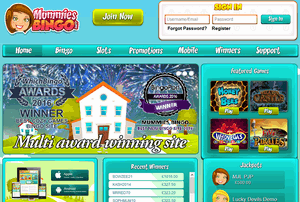 Mummies Bingo website homepage