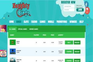 naughty bingo website screenshot