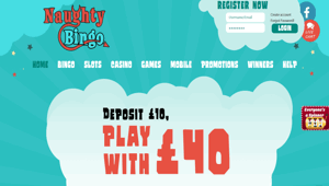 Naughty Bingo website homepage